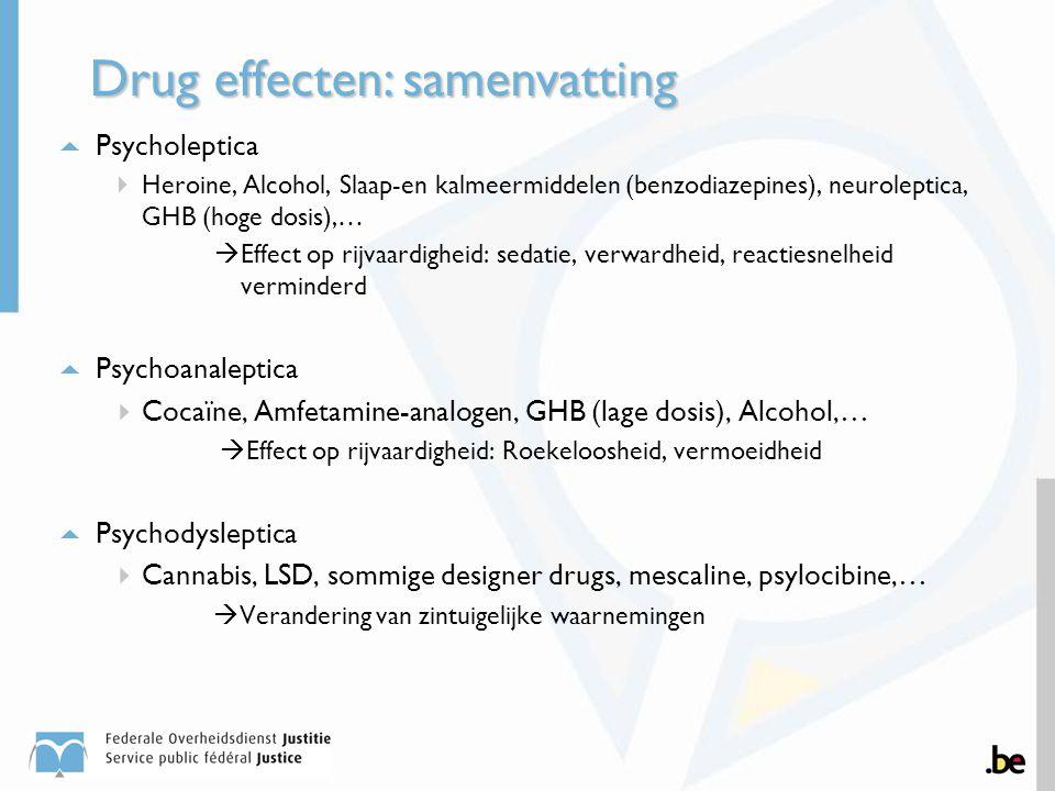  Psycholeptica  Heroine, Alcohol, Slaap-en kalmeermiddelen (benzodiazepines), neuroleptica, GHB (hoge dosis),…  Effect op rijvaardigheid: sedatie,