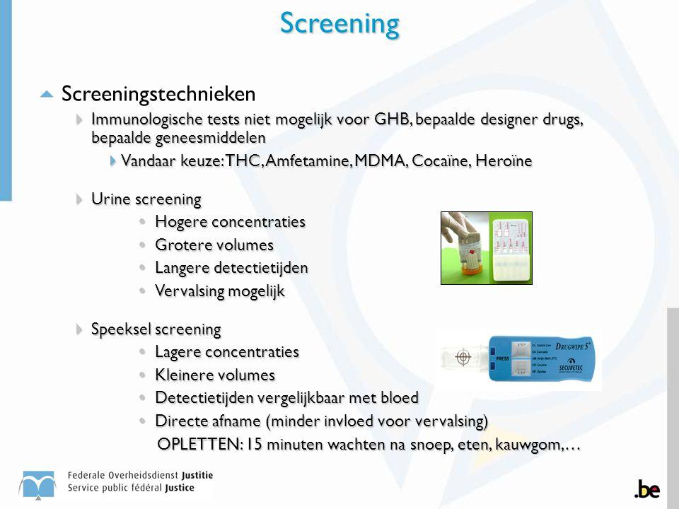  Screeningstechnieken  Immunologische tests niet mogelijk voor GHB, bepaalde designer drugs, bepaalde geneesmiddelen  Vandaar keuze: THC, Amfetamin