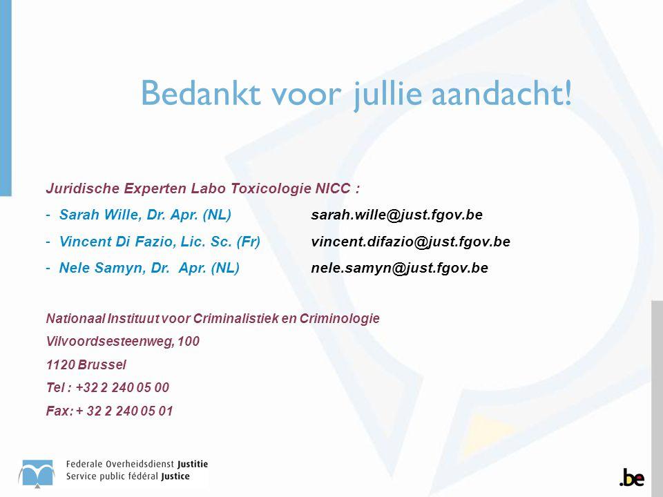 Bedankt voor jullie aandacht! Juridische Experten Labo Toxicologie NICC : -Sarah Wille, Dr. Apr. (NL)sarah.wille@just.fgov.be -Vincent Di Fazio, Lic.