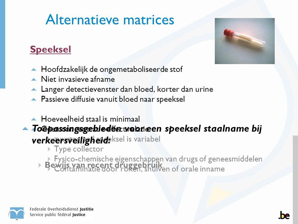 Speeksel  Hoofdzakelijk de ongemetaboliseerde stof  Niet invasieve afname  Langer detectievenster dan bloed, korter dan urine  Passieve diffusie v