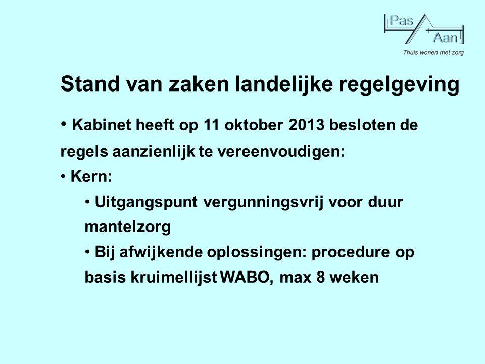 Stand van zaken landelijke regelgeving Kabinet heeft op 11 oktober 2013 besloten de regels aanzienlijk te vereenvoudigen: Kern: Uitgangspunt vergunnin
