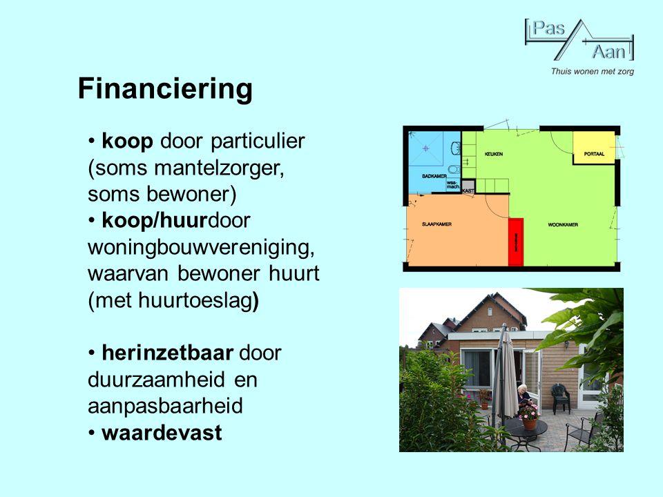 Financiering koop door particulier (soms mantelzorger, soms bewoner) koop/huurdoor woningbouwvereniging, waarvan bewoner huurt (met huurtoeslag) herin