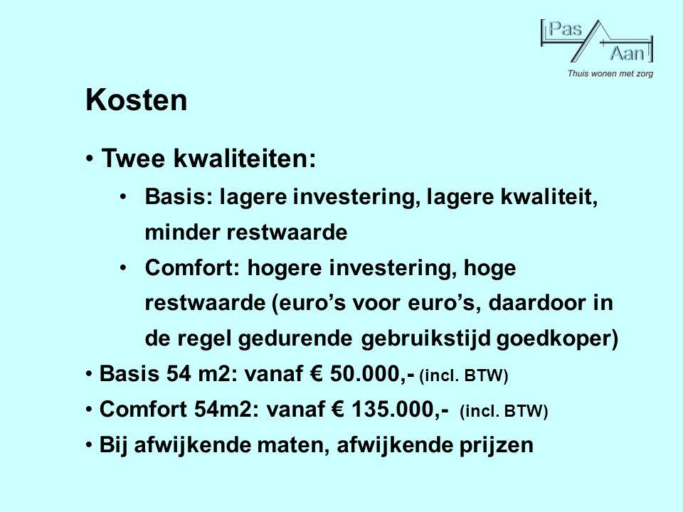Kosten Twee kwaliteiten: Basis: lagere investering, lagere kwaliteit, minder restwaarde Comfort: hogere investering, hoge restwaarde (euro's voor euro
