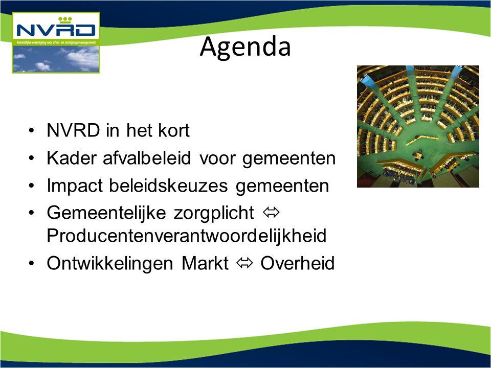 Agenda NVRD in het kort Kader afvalbeleid voor gemeenten Impact beleidskeuzes gemeenten Gemeentelijke zorgplicht  Producentenverantwoordelijkheid Ont