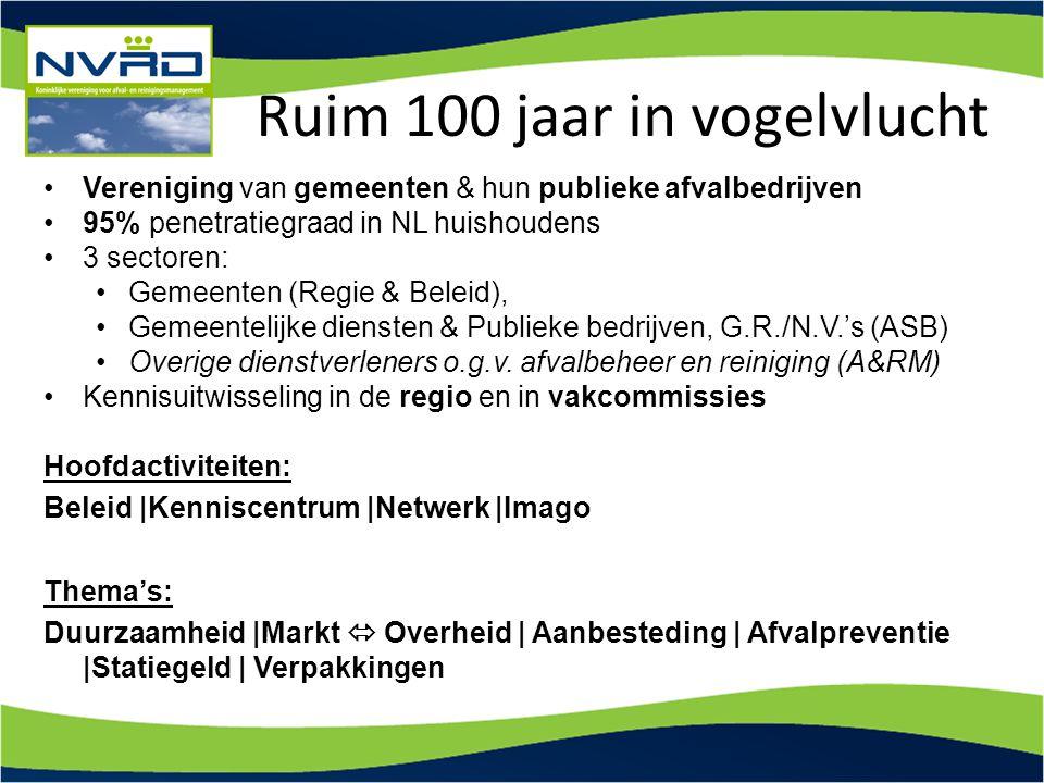 Ruim 100 jaar in vogelvlucht Vereniging van gemeenten & hun publieke afvalbedrijven 95% penetratiegraad in NL huishoudens 3 sectoren: Gemeenten (Regie