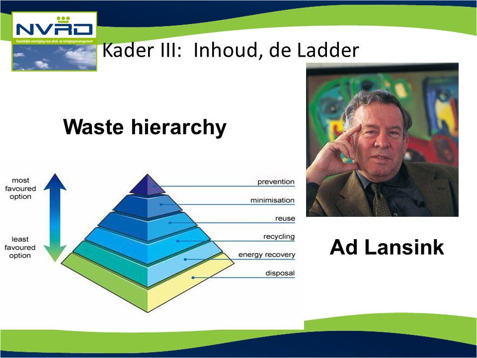 Ad Lansink Waste hierarchy Kader III: Inhoud, de Ladder