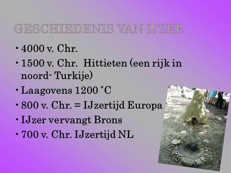 4000 v. Chr. 1500 v. Chr. Hittieten (een rijk in noord- Turkije) Laagovens 1200 ˚C 800 v. Chr. = IJzertijd Europa IJzer vervangt Brons 700 v. Chr. IJz