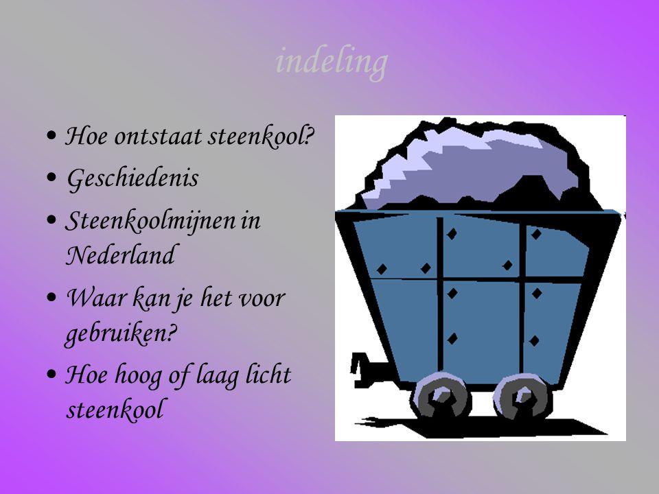 indeling Hoe ontstaat steenkool? Geschiedenis Steenkoolmijnen in Nederland Waar kan je het voor gebruiken? Hoe hoog of laag licht steenkool