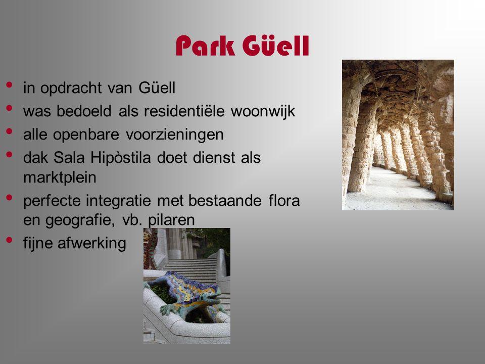 Park Güell in opdracht van Güell was bedoeld als residentiële woonwijk alle openbare voorzieningen dak Sala Hipòstila doet dienst als marktplein perfe