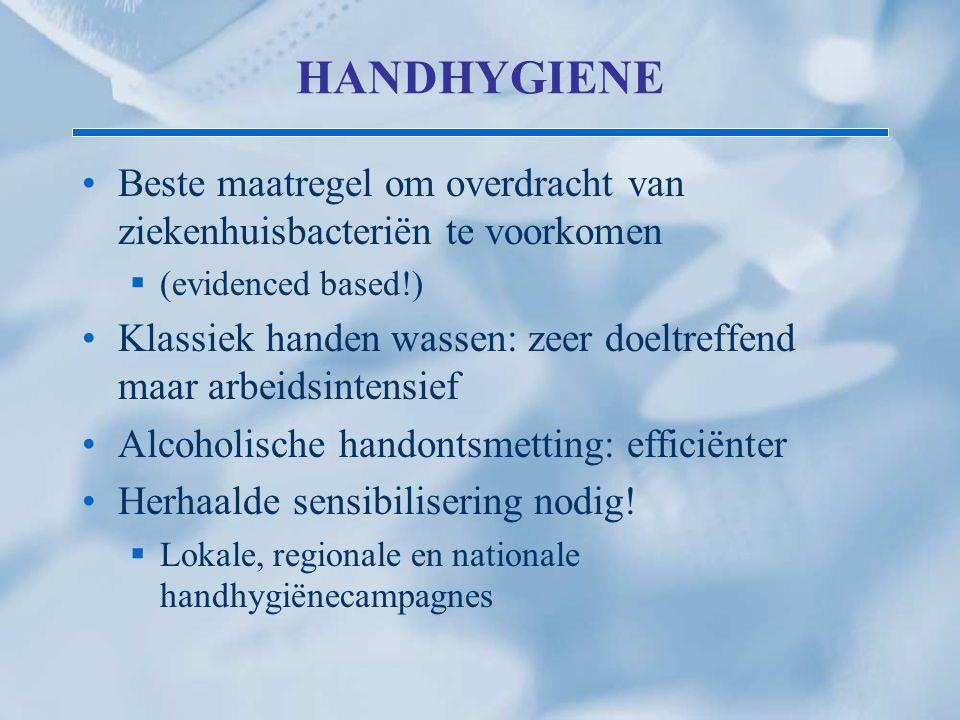 HANDHYGIENE Beste maatregel om overdracht van ziekenhuisbacteriën te voorkomen  (evidenced based!) Klassiek handen wassen: zeer doeltreffend maar arb
