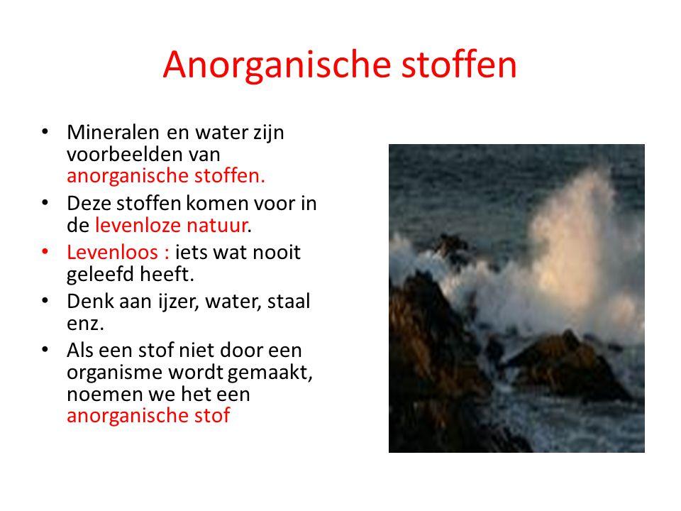 Anorganische stoffen Mineralen en water zijn voorbeelden van anorganische stoffen. Deze stoffen komen voor in de levenloze natuur. Levenloos : iets wa