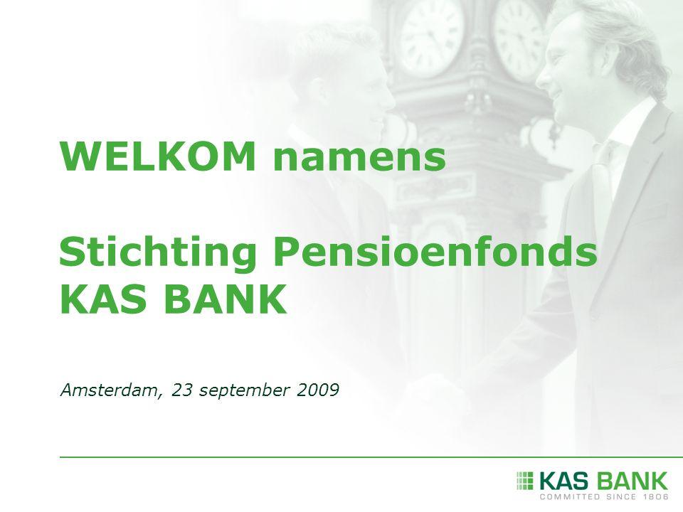 WELKOM namens Stichting Pensioenfonds KAS BANK Amsterdam, 23 september 2009
