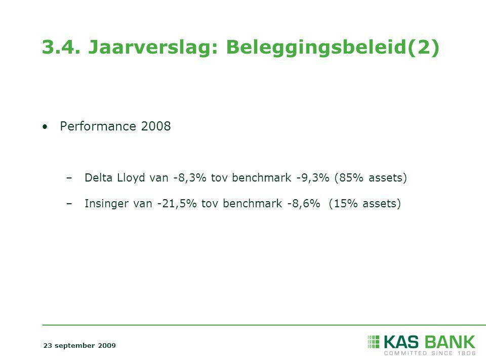 3.4. Jaarverslag: Beleggingsbeleid(2) Performance 2008 – Delta Lloyd van -8,3% tov benchmark -9,3% (85% assets) – Insinger van -21,5% tov benchmark -8