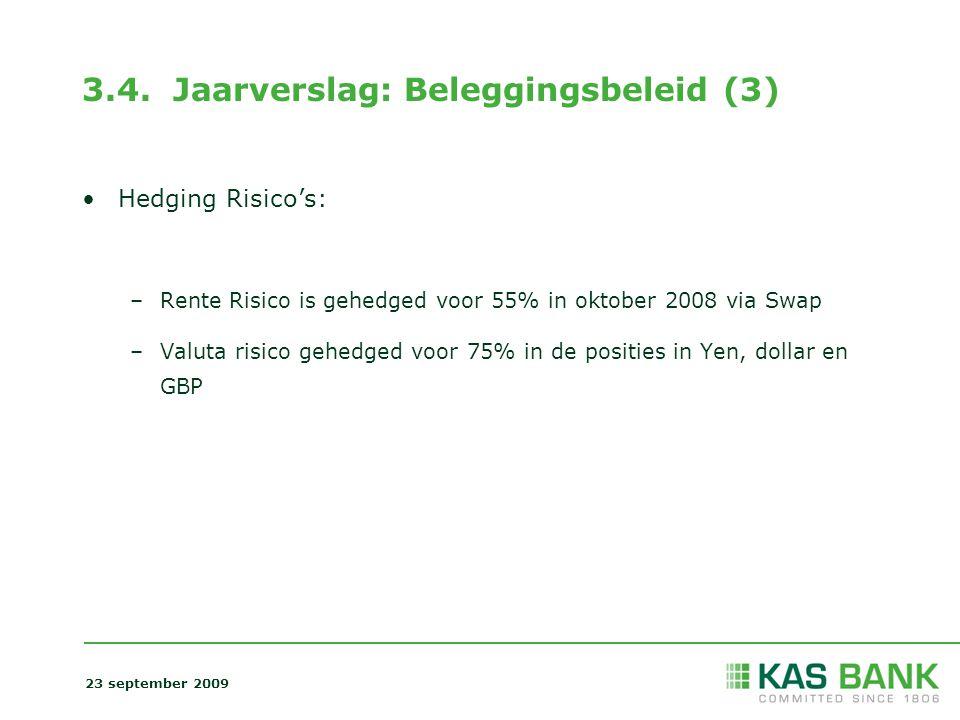 3.4. Jaarverslag: Beleggingsbeleid (3) Hedging Risico's: –Rente Risico is gehedged voor 55% in oktober 2008 via Swap –Valuta risico gehedged voor 75%