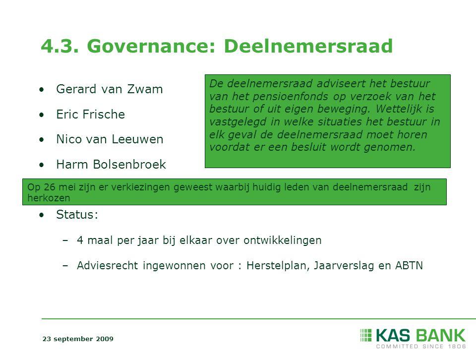 4.3. Governance: Deelnemersraad Gerard van Zwam Eric Frische Nico van Leeuwen Harm Bolsenbroek Status: –4 maal per jaar bij elkaar over ontwikkelingen
