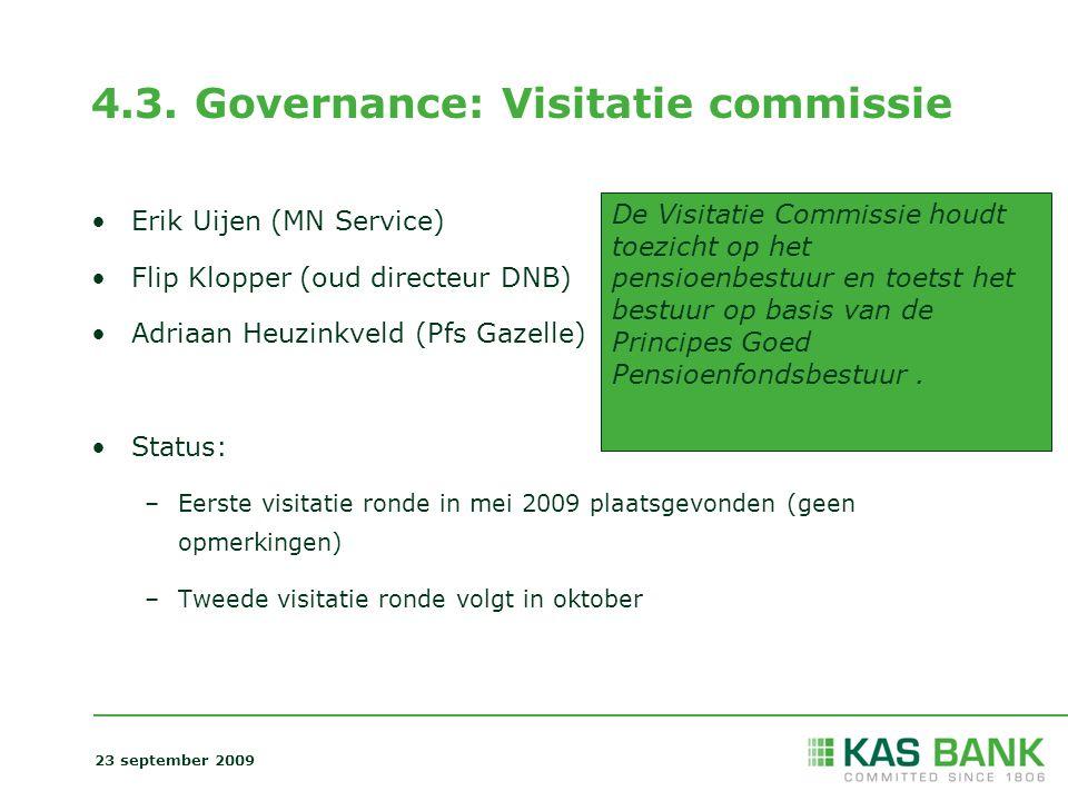 4.3. Governance: Visitatie commissie Erik Uijen (MN Service) Flip Klopper (oud directeur DNB) Adriaan Heuzinkveld (Pfs Gazelle) Status: –Eerste visita