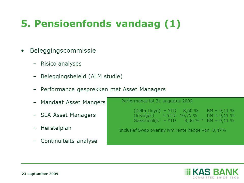 5. Pensioenfonds vandaag (1) Beleggingscommissie –Risico analyses –Beleggingsbeleid (ALM studie) –Performance gesprekken met Asset Managers –Mandaat A