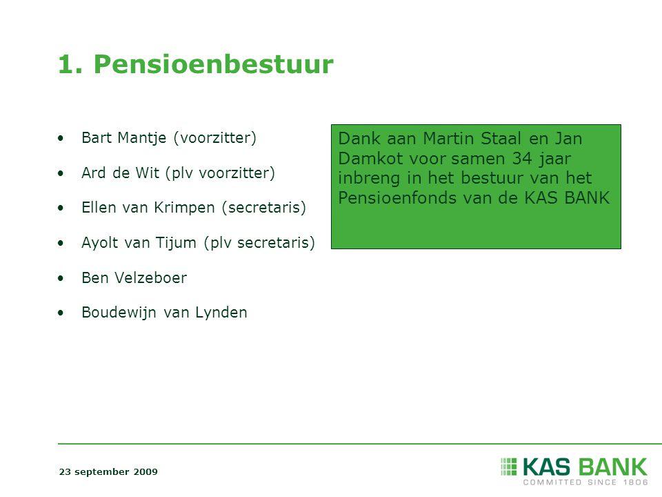 1. Pensioenbestuur Bart Mantje (voorzitter) Ard de Wit (plv voorzitter) Ellen van Krimpen (secretaris) Ayolt van Tijum (plv secretaris) Ben Velzeboer
