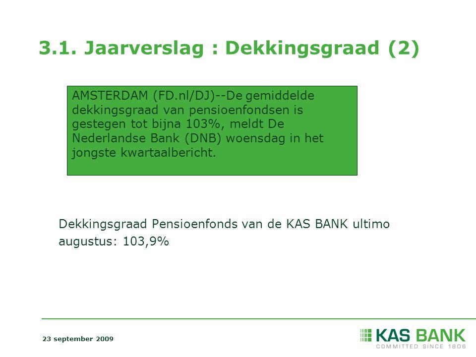3.1. Jaarverslag : Dekkingsgraad (2) Dekkingsgraad Pensioenfonds van de KAS BANK ultimo augustus: 103,9% AMSTERDAM (FD.nl/DJ)--De gemiddelde dekkingsg