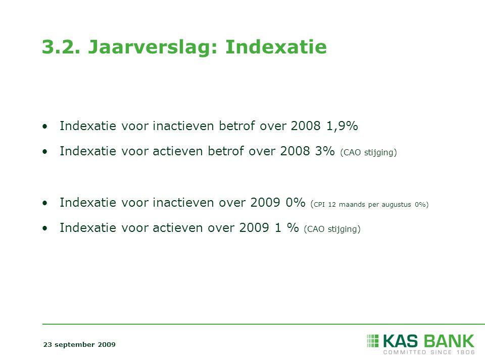 3.2. Jaarverslag: Indexatie Indexatie voor inactieven betrof over 2008 1,9% Indexatie voor actieven betrof over 2008 3% (CAO stijging) Indexatie voor
