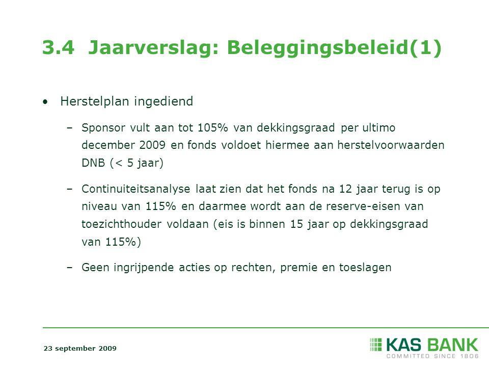 3.4 Jaarverslag: Beleggingsbeleid(1) Herstelplan ingediend –Sponsor vult aan tot 105% van dekkingsgraad per ultimo december 2009 en fonds voldoet hier