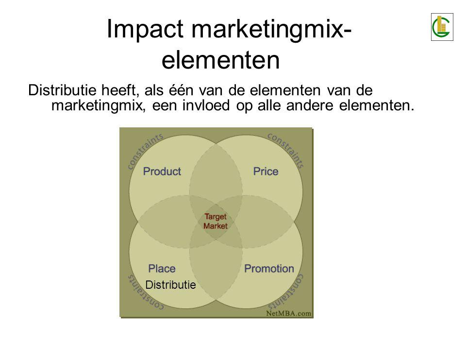 Impact marketingmix- elementen Distributie heeft, als één van de elementen van de marketingmix, een invloed op alle andere elementen. Distributie