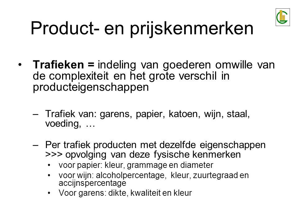 Product- en prijskenmerken Trafieken = indeling van goederen omwille van de complexiteit en het grote verschil in producteigenschappen –Trafiek van: g