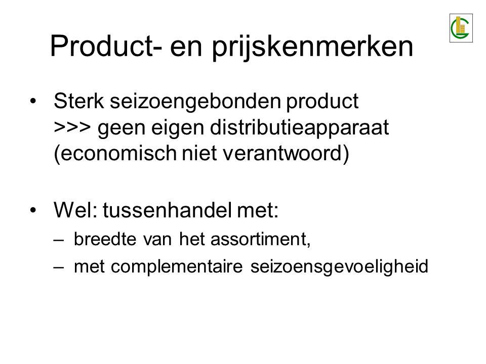Product- en prijskenmerken Sterk seizoengebonden product >>> geen eigen distributieapparaat (economisch niet verantwoord) Wel: tussenhandel met: –bree