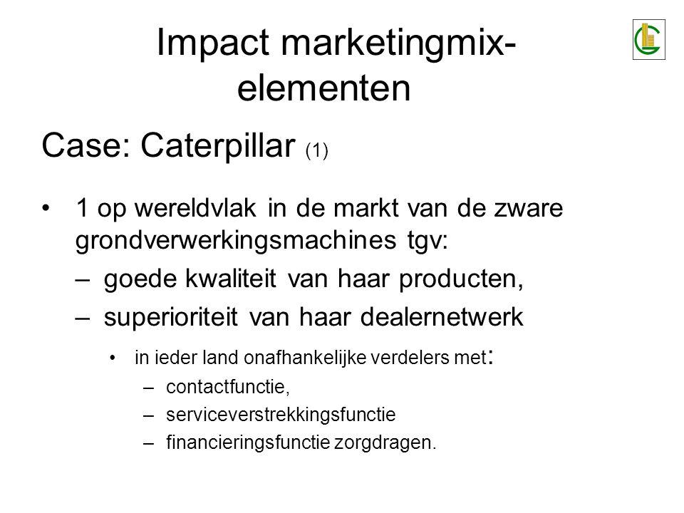 Case: Caterpillar (1) 1 op wereldvlak in de markt van de zware grondverwerkingsmachines tgv: –goede kwaliteit van haar producten, –superioriteit van h