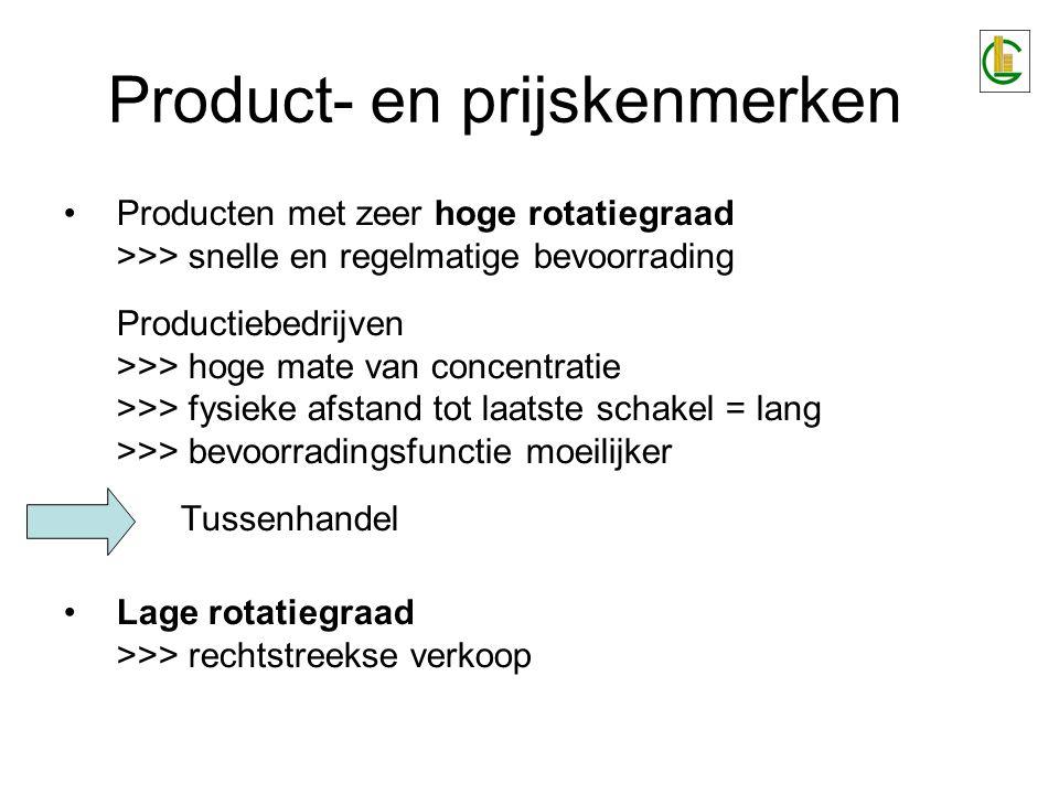 Product- en prijskenmerken Producten met zeer hoge rotatiegraad >>> snelle en regelmatige bevoorrading Productiebedrijven >>> hoge mate van concentrat