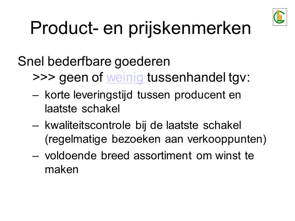 Product- en prijskenmerken Snel bederfbare goederen >>> geen of weinig tussenhandel tgv:weinig –korte leveringstijd tussen producent en laatste schake