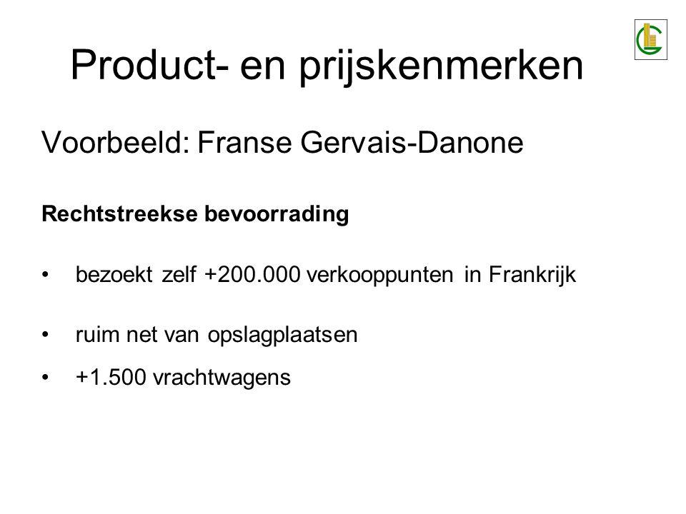 Product- en prijskenmerken Voorbeeld: Franse Gervais-Danone Rechtstreekse bevoorrading bezoekt zelf +200.000 verkooppunten in Frankrijk ruim net van o