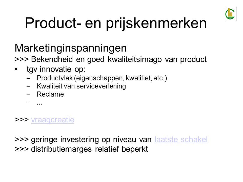 Product- en prijskenmerken Marketinginspanningen >>> Bekendheid en goed kwaliteitsimago van product tgv innovatie op: –Productvlak (eigenschappen, kwa