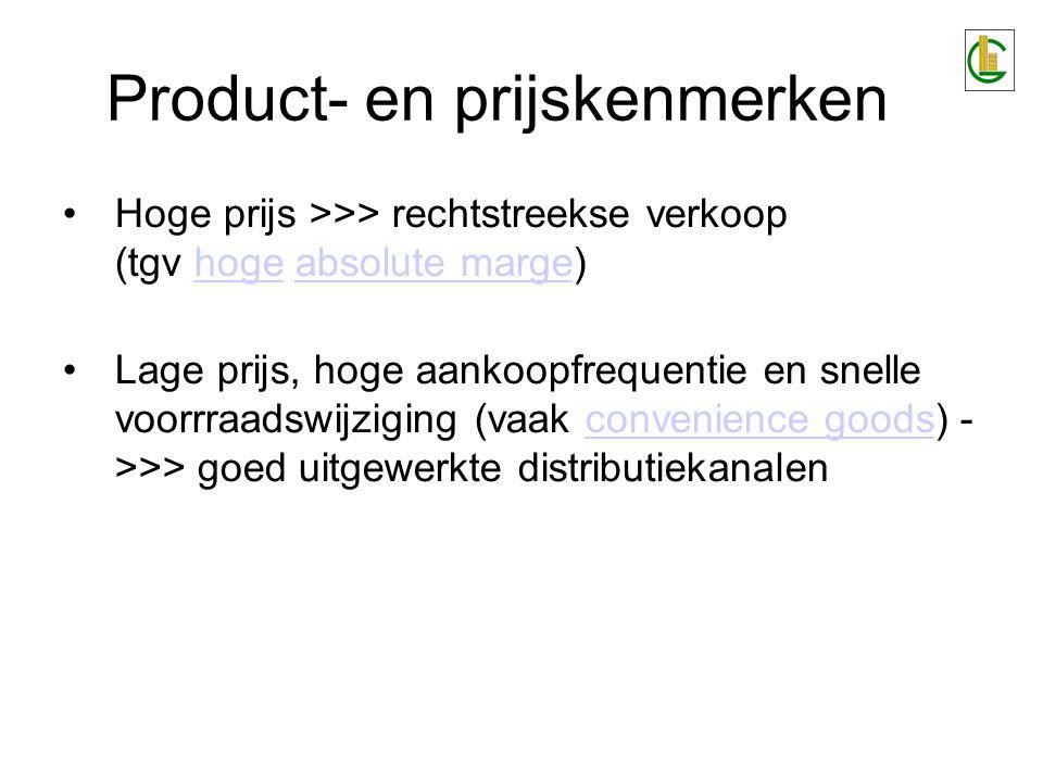 Product- en prijskenmerken Hoge prijs >>> rechtstreekse verkoop (tgv hoge absolute marge)hogeabsolute marge Lage prijs, hoge aankoopfrequentie en snel