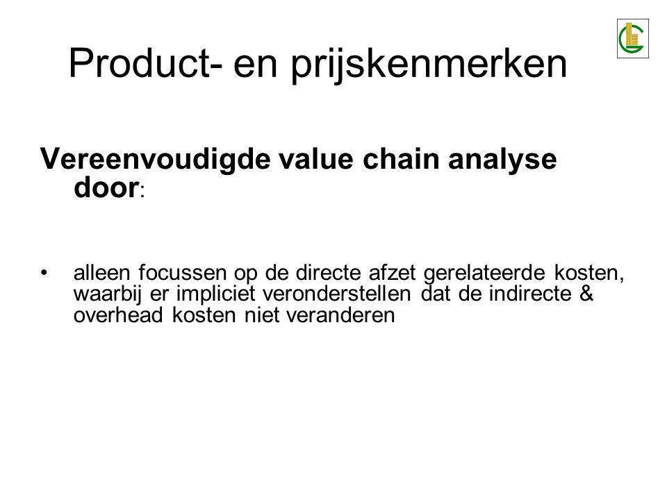 Vereenvoudigde value chain analyse door : alleen focussen op de directe afzet gerelateerde kosten, waarbij er impliciet veronderstellen dat de indirec