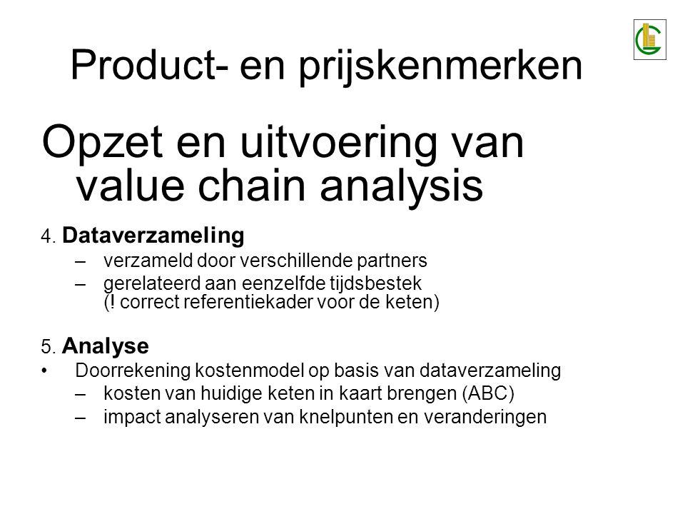 Product- en prijskenmerken Opzet en uitvoering van value chain analysis 4. Dataverzameling –verzameld door verschillende partners –gerelateerd aan een