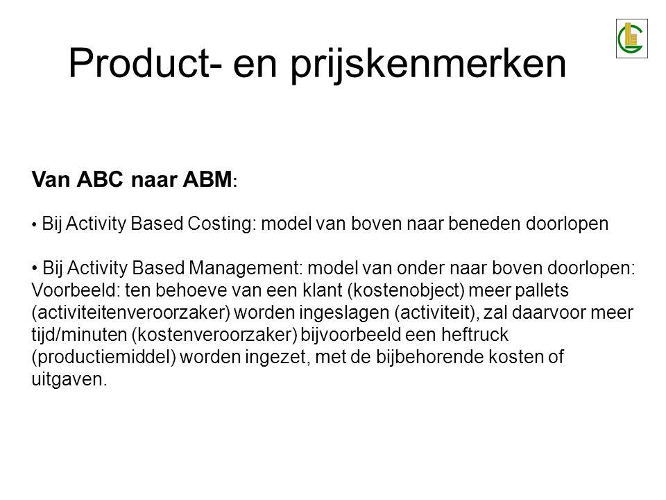 Product- en prijskenmerken Van ABC naar ABM : Bij Activity Based Costing: model van boven naar beneden doorlopen Bij Activity Based Management: model