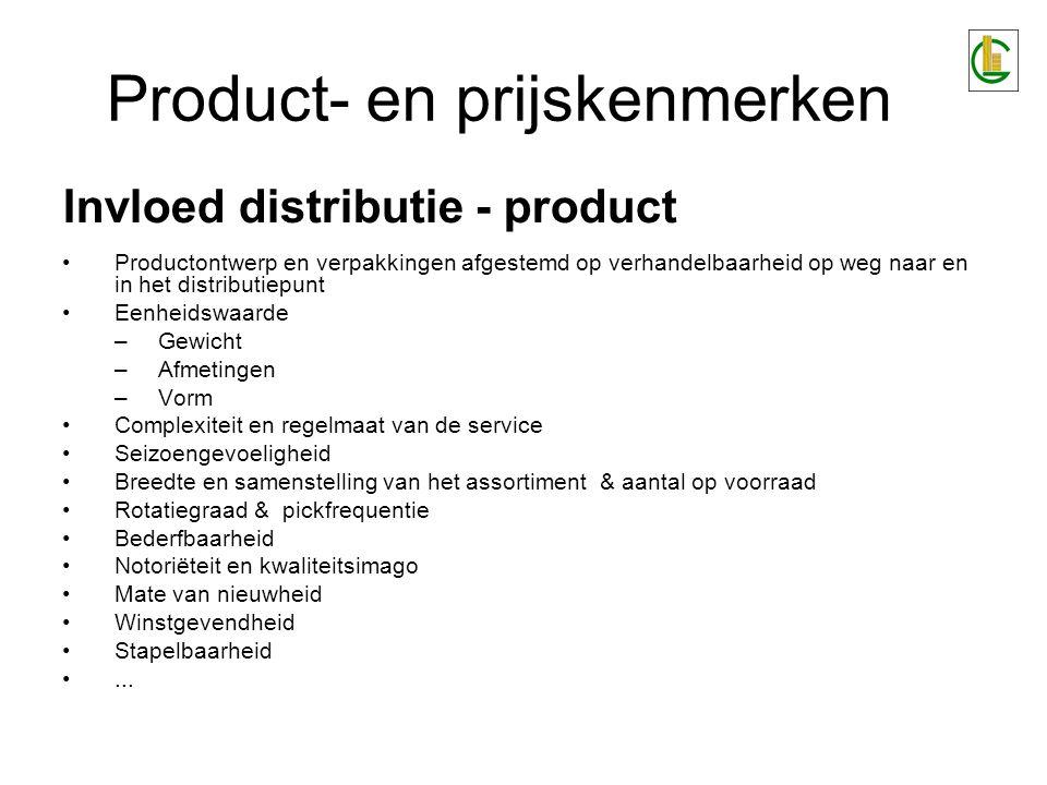Product- en prijskenmerken Evaluatie van de invloed van een product op distributie en vice versa 1.Leg checklist aan met productkenmerken (wegingscoëfficiënten) 2.Weeg kenmerken tegen elkaar af 3.Deel producten op basis van de belangrijkste kenmerken op in productklassen (trafieken) 4.Ga na, per distributieschakel, wat de invloed is van de bedrijfsmatige processen op de productklassen