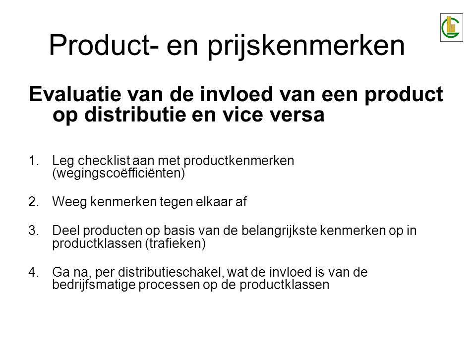 Product- en prijskenmerken Snel bederfbare goederen >>> geen of weinig tussenhandel tgv:weinig –korte leveringstijd tussen producent en laatste schakel –kwaliteitscontrole bij de laatste schakel (regelmatige bezoeken aan verkooppunten) –voldoende breed assortiment om winst te maken
