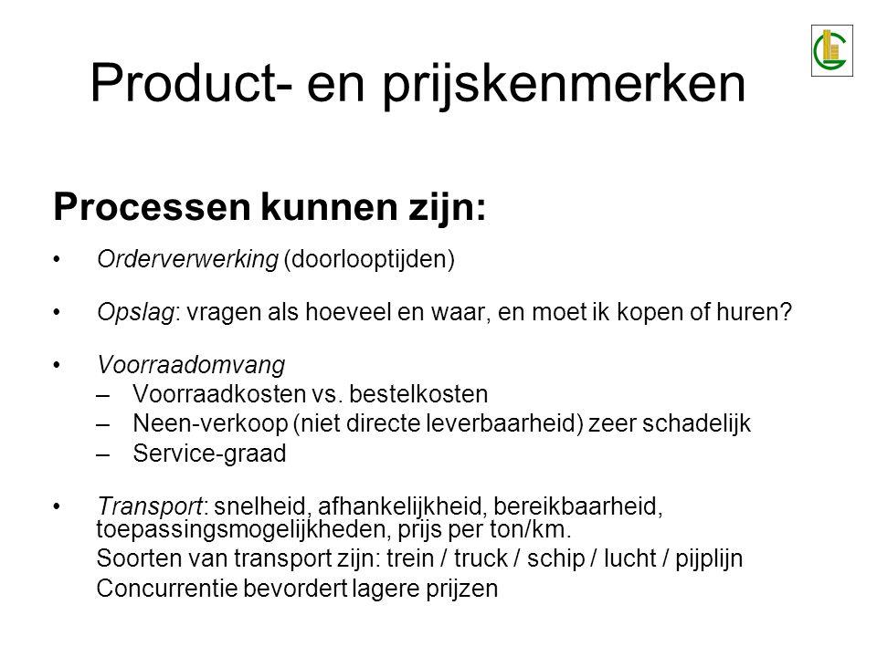 Product- en prijskenmerken Processen kunnen zijn: Orderverwerking (doorlooptijden) Opslag: vragen als hoeveel en waar, en moet ik kopen of huren? Voor