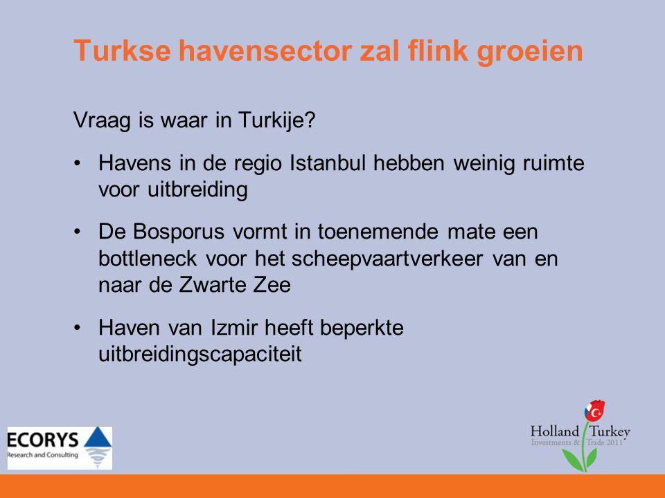 Turkse havensector zal flink groeien Vraag is waar in Turkije? Havens in de regio Istanbul hebben weinig ruimte voor uitbreiding De Bosporus vormt in