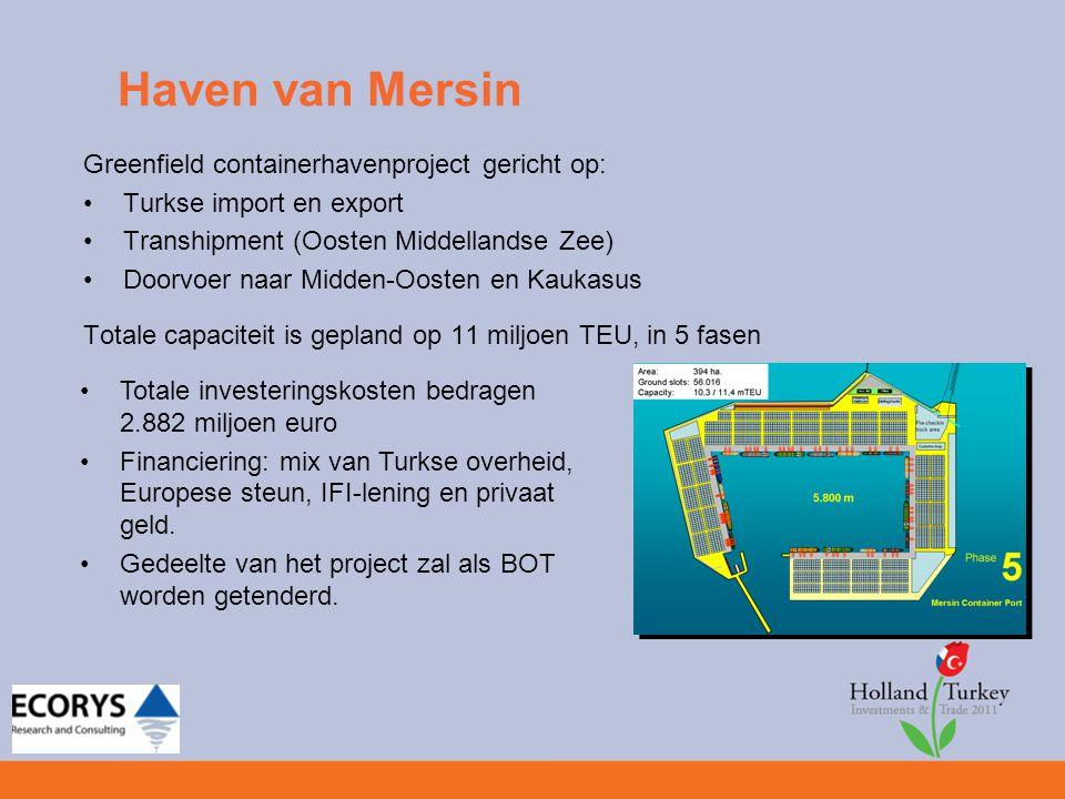 Haven van Mersin Greenfield containerhavenproject gericht op: Turkse import en export Transhipment (Oosten Middellandse Zee) Doorvoer naar Midden-Oost
