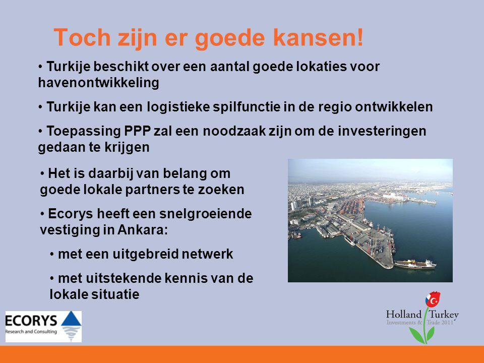 Toch zijn er goede kansen! Turkije beschikt over een aantal goede lokaties voor havenontwikkeling Turkije kan een logistieke spilfunctie in de regio o