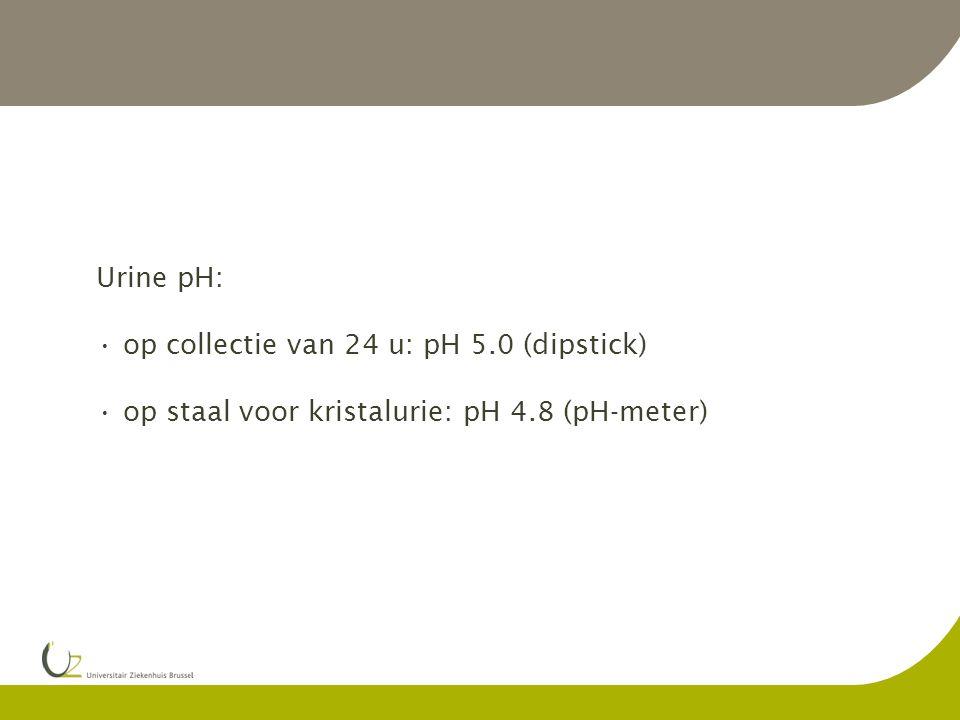 Case record A (5): Urine pH: op collectie van 24 u: pH 5.0 (dipstick) op staal voor kristalurie: pH 4.8 (pH-meter)