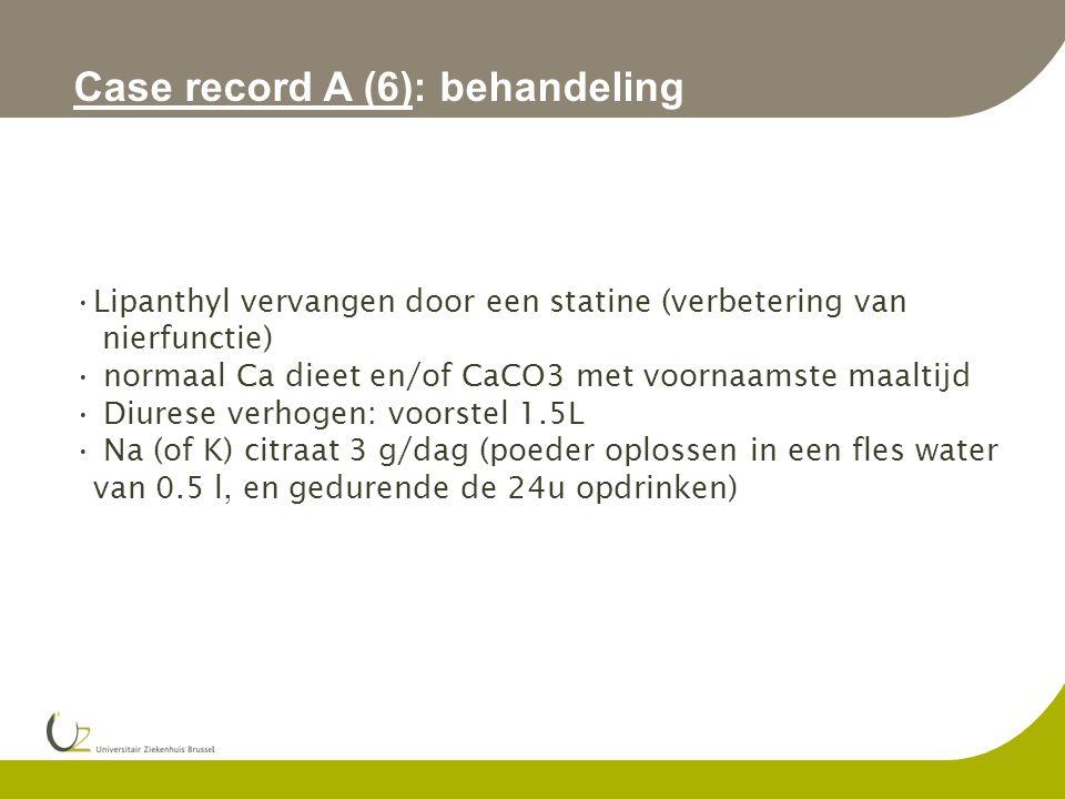 Case record A (6): behandeling Lipanthyl vervangen door een statine (verbetering van nierfunctie) normaal Ca dieet en/of CaCO3 met voornaamste maaltij