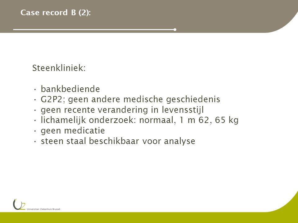 Case record B (2): Steenkliniek: bankbediende G2P2; geen andere medische geschiedenis geen recente verandering in levensstijl lichamelijk onderzoek: normaal, 1 m 62, 65 kg geen medicatie steen staal beschikbaar voor analyse