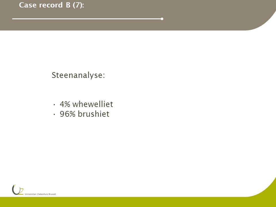 Case record B (7): Steenanalyse: 4% whewelliet 96% brushiet