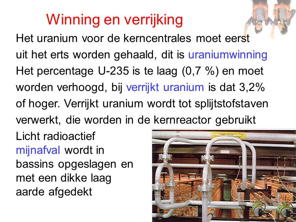 Winning en verrijking Het uranium voor de kerncentrales moet eerst uit het erts worden gehaald, dit is uraniumwinning Het percentage U-235 is te laag