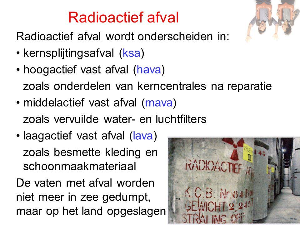 Radioactief afval Radioactief afval wordt onderscheiden in: hoogactief vast afval (hava) middelactief vast afval (mava) laagactief vast afval (lava) z