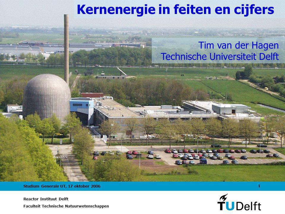 Reactor Instituut Delft Faculteit Technische Natuurwetenschappen 1 Studium Generale UT, 17 oktober 2006 Kernenergie in feiten en cijfers Tim van der Hagen Technische Universiteit Delft